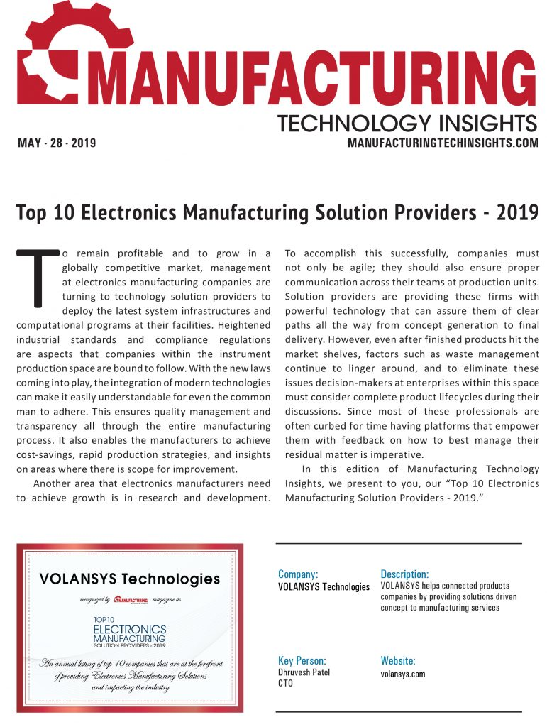 VOLANSYS-Top 10 Electronics Manufacturing Solution Providers