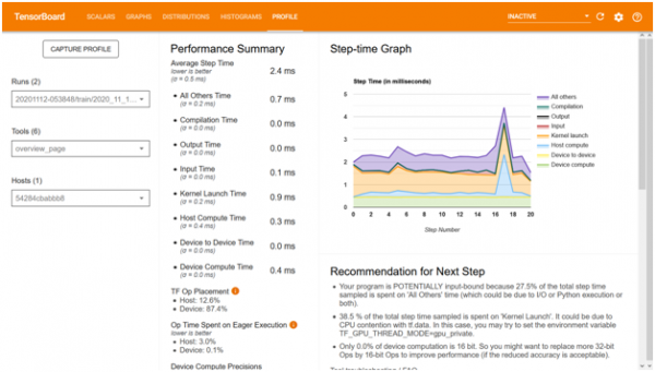 Profiling tool to analyze model processing speed 1